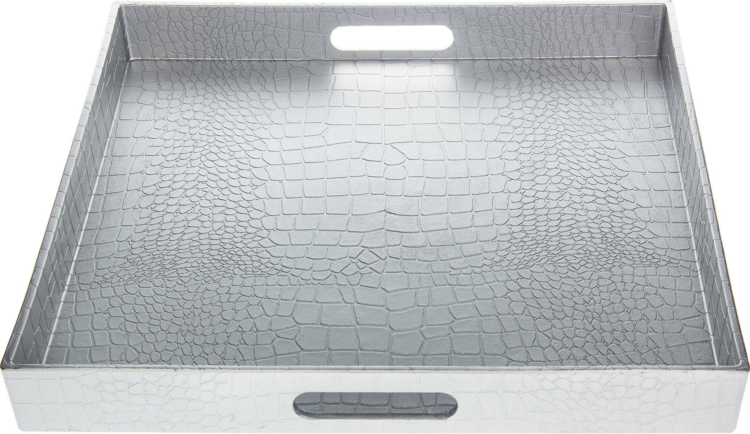 Fantastic:) Square Alligator Serving Tray with Matte Finish Design (1, Square Alligator Silver)