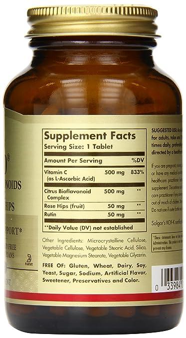 Amazon.com: Solgar - HY-Bio Vitamin C with Bioflavonoid, 500 mg, 100 Tablets: Health & Personal Care