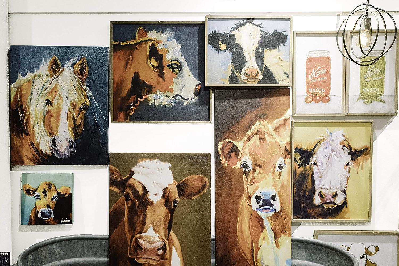 Creative Co-op Wood Framed Cow Wall Art DA6969
