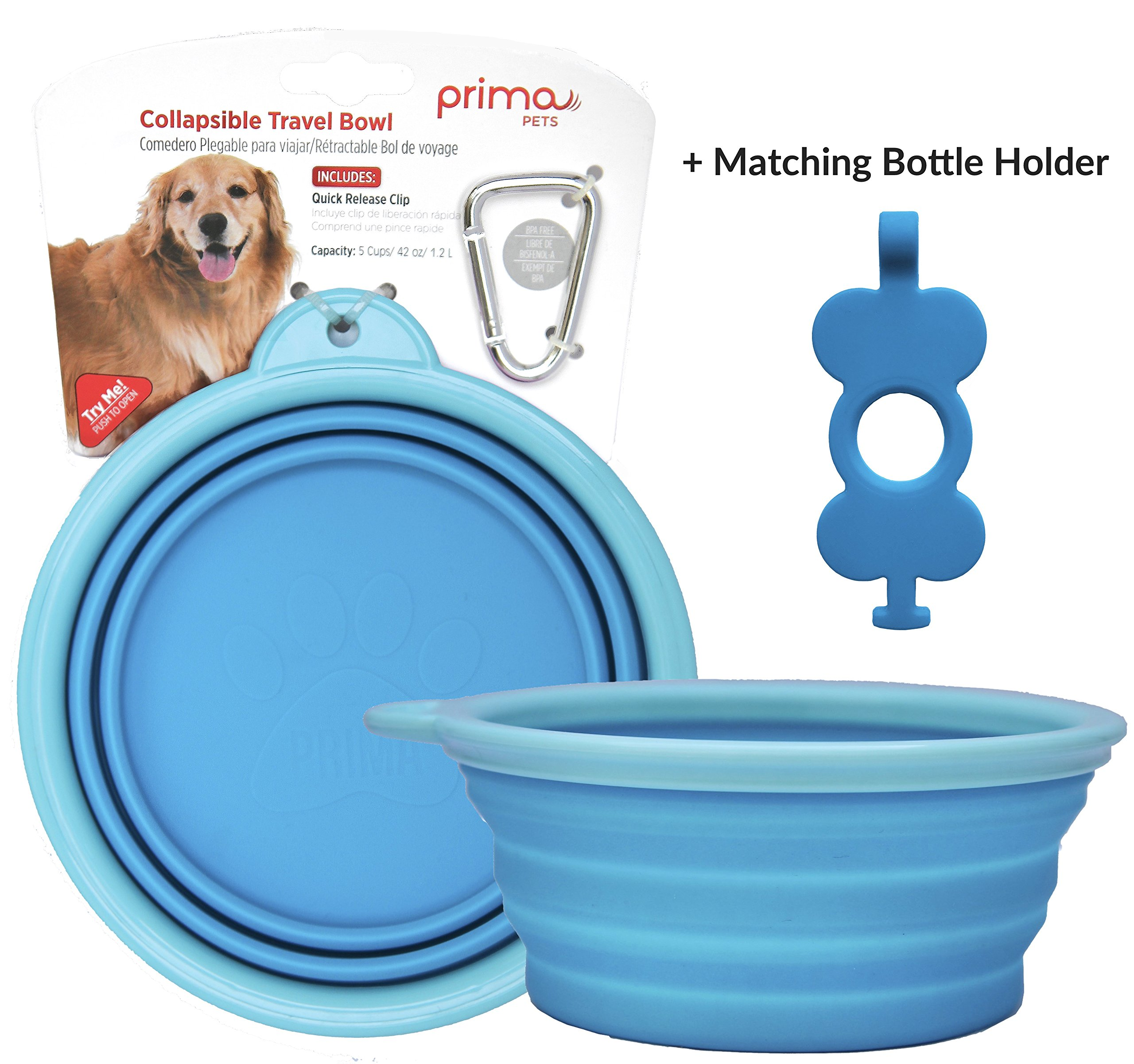 Prima Pet Collapsible Silicone Food & Water Travel Bowl with Clip for Dog and Cat (LARGE (5 CUPS) + BOTTLE HOLDER, AQUA)