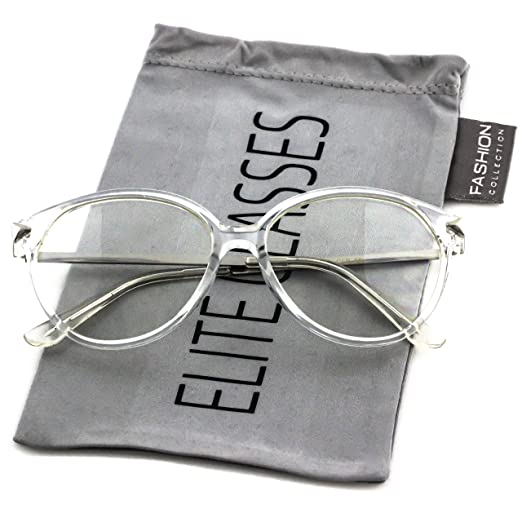 b5d01c034010 Elite VINTAGE RETRO 60's CAT EYE Style Clear Lens EYE GLASSES Transparent  Silver Frame (Silver