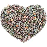 Yc 500pcs 8mm Mixed Color Multicolor Round Acrylic Flower Big Hole Beads Round Ball Loose Beads