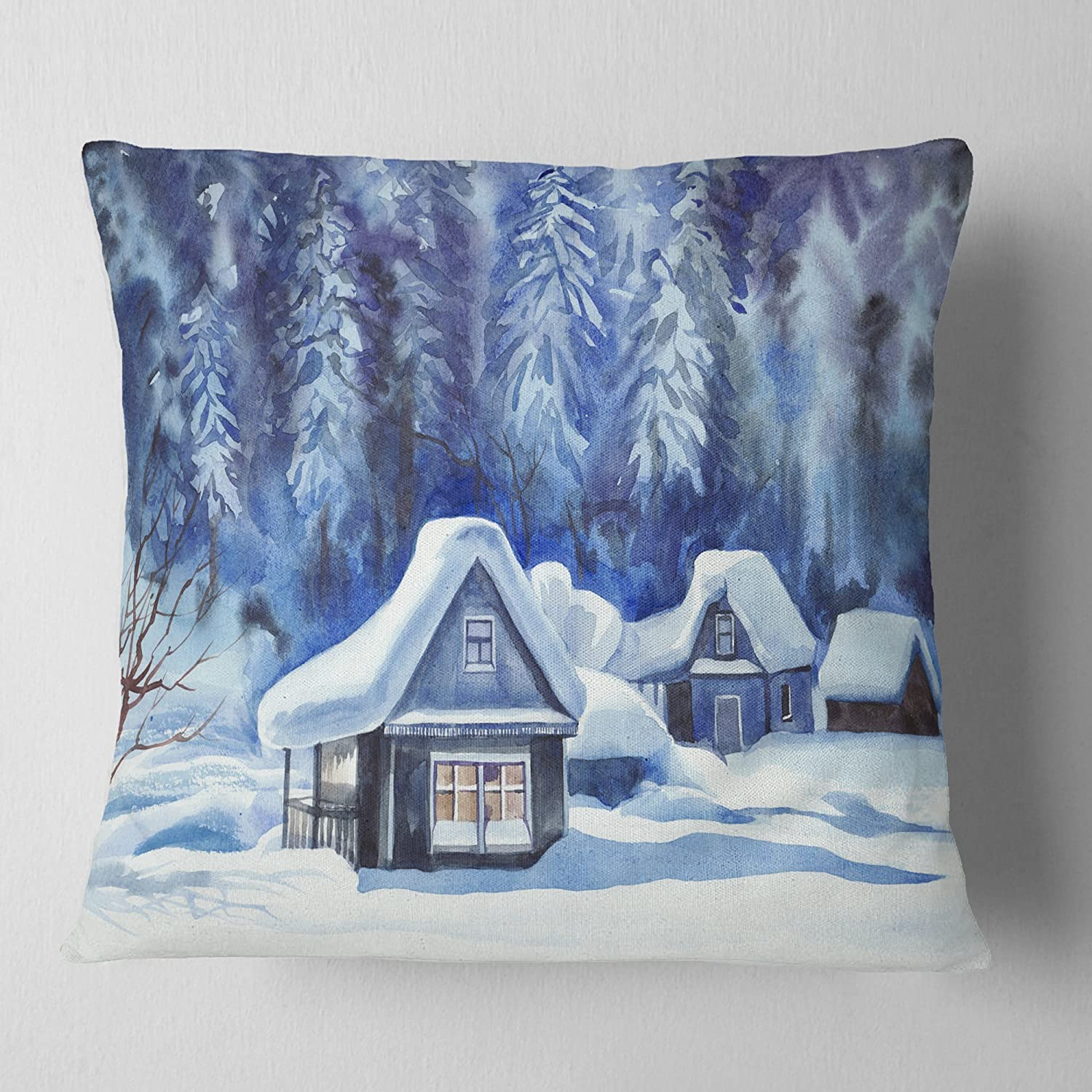 Designart CU7455-16-16 Blue Winter Cottages' Landscape Printed Cushion Cover for Living Room, Sofa Throw Pillow 16 in. x 16 in. in