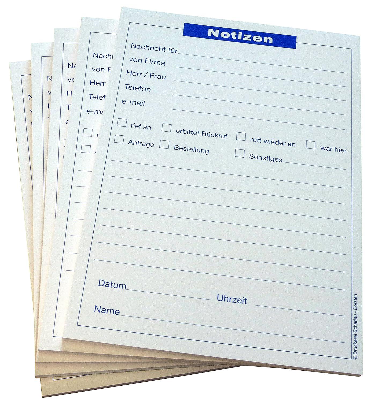 100 x Gesprächsnotiz DIN A5 Block 50 Blatt, 80g//m² Gesprächsnotizen