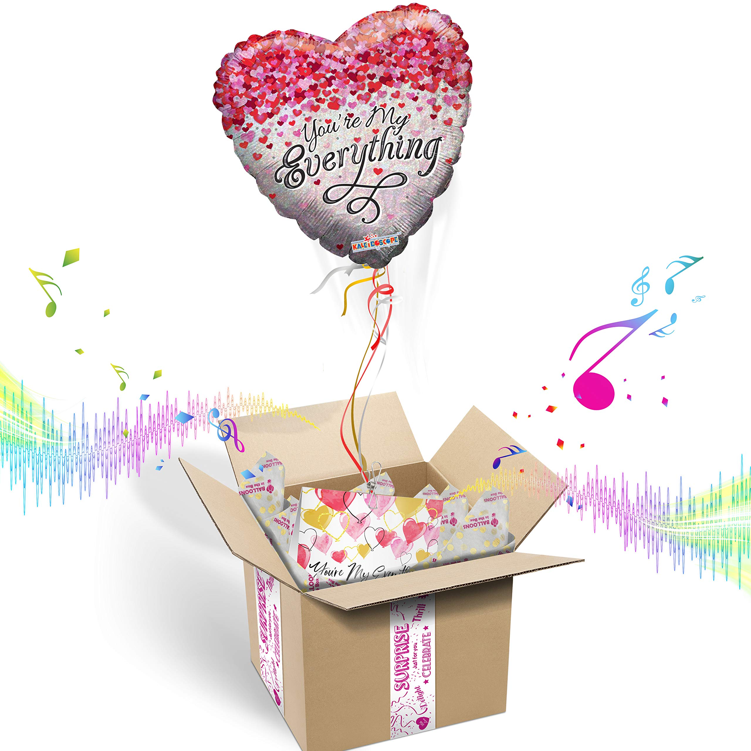 ''YOU'RE MY EVERYTHING'' HEART SHAPED INFLATED HELIUM BALLOON LOVE GIFT PACKAGE | Includes Coordinating Customizable Greeting Card | Floats out of the Box and Plays a Happy Jingle When Opened