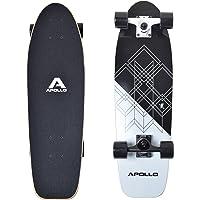 Apollo Mini-Longboard, Toller Midi Cruiser als Komplett-Board, 70cm (30x8), wendiges Kick Tail Mini Longboard aus Holz im Vintage Skateboard-Style mit High Speed ABEC 9 Kugellagern