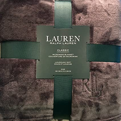 Amazon.com: Ralph Lauren Classic KING Size Charcoal Grey Micromink