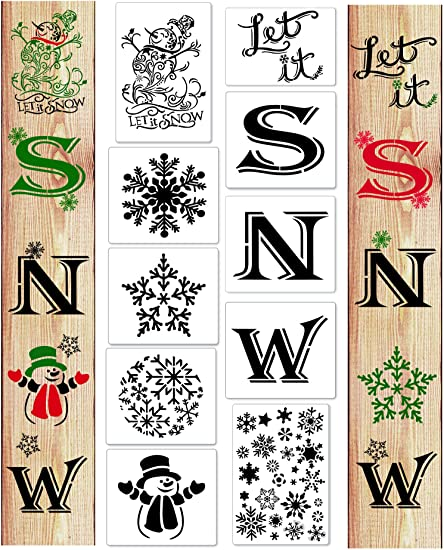 15 Pieces Let It Snow Stencils Porch Sign Stencil for Painting on Wood Reusable Christmas Stencils for Winter Home Decor Craft Art