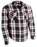 Milwaukee Performance Mens Flannel Biker Shirt With Aramid (Black/White/Red, XX