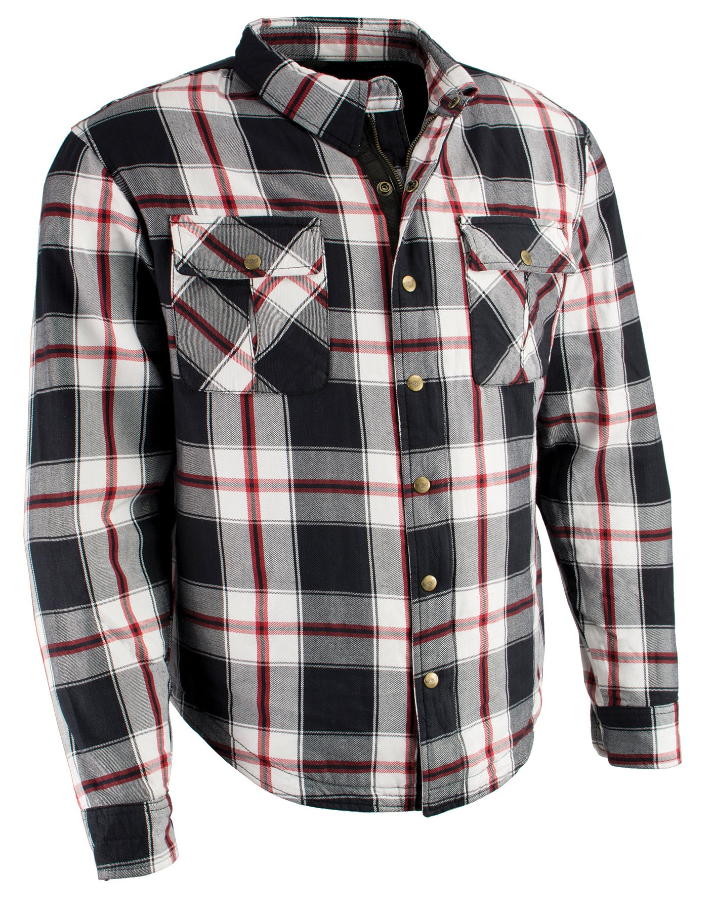 Milwaukee Performance Men's Flannel Biker Shirt with Aramid (Black/White/Red, XL)
