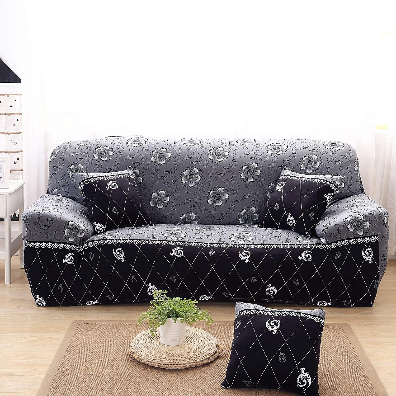 Enova Home Elegant Polyester And Spandex Stretch Fabric Washable Box Cushion Loveseat Slipcover Furniture Protector For Living Room Grey Flower Sofa Home Kitchen