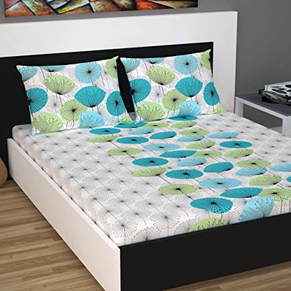 Divine Casa Classic 144 TC Cotton Double Bedsheet with 2 Pillow Covers - Floral, Multicolour