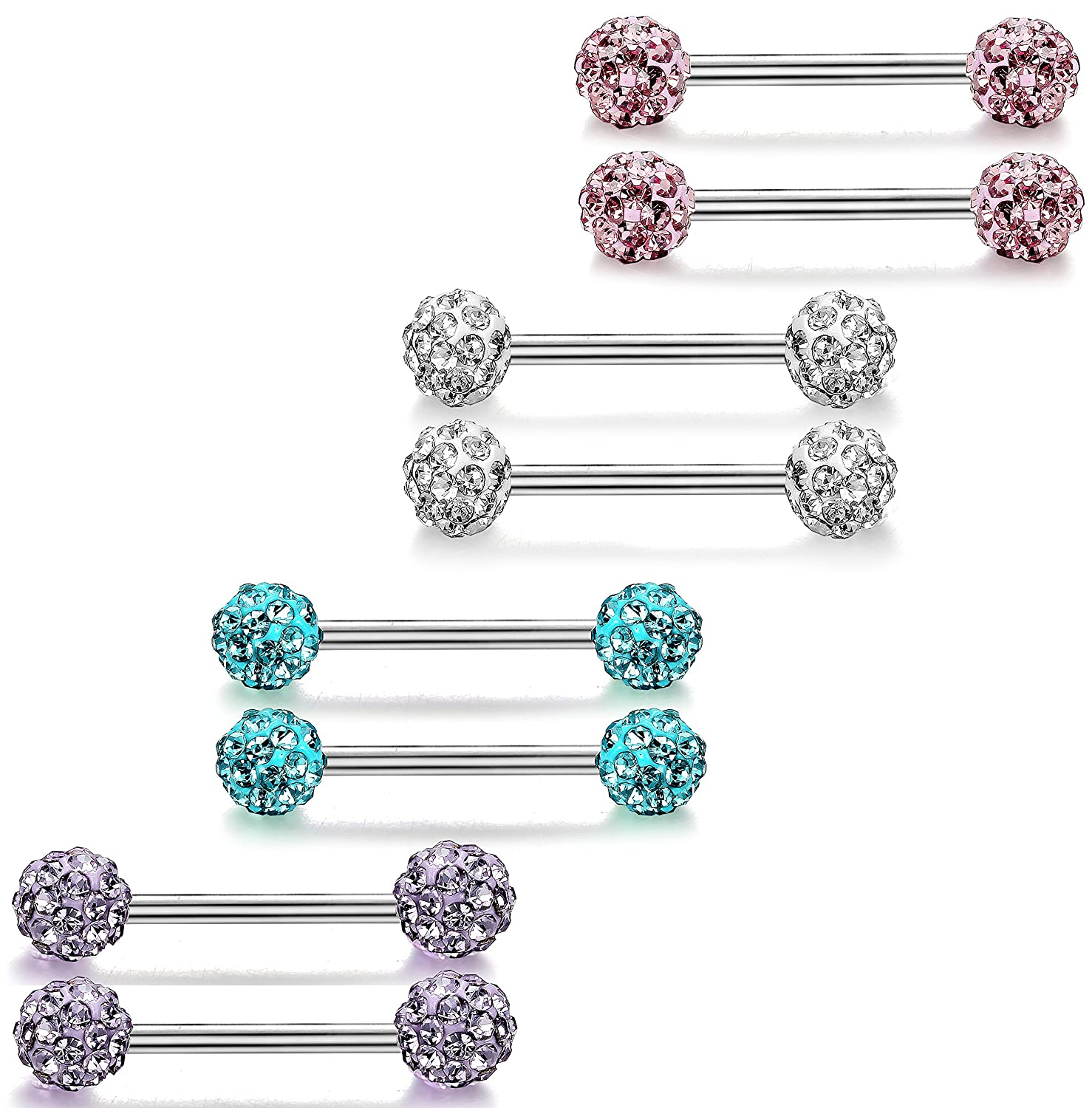 ORAZIO 6-8 Pcs 14G 316L Stainless Steel CZ Nipple Piercing Barbell Belly Button Ring for Women