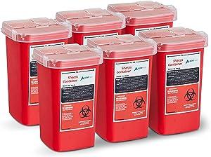 AdirMed Sharps & Needle Biohazard Disposal Container 1 Quart - 6 Pack