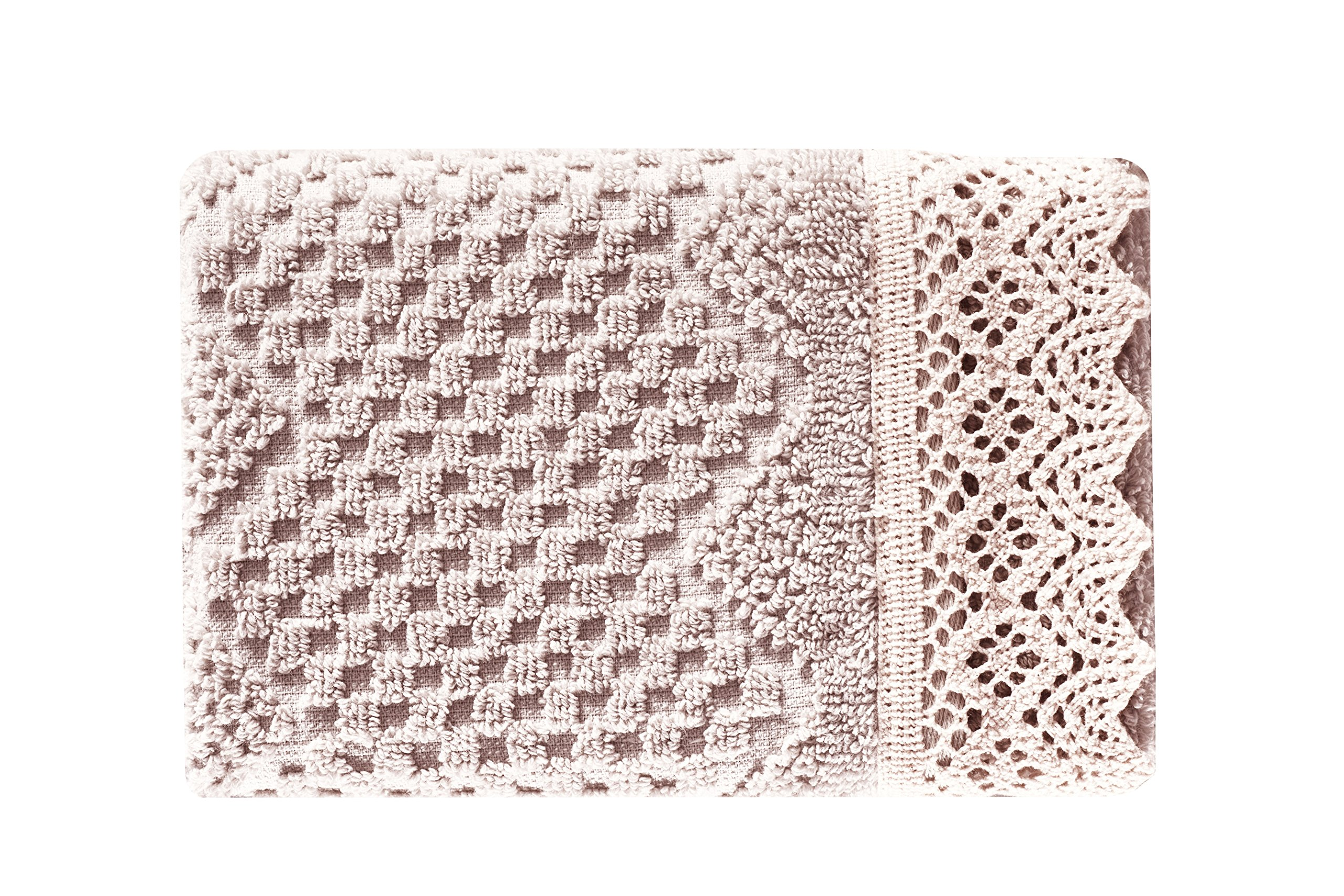 Five Queens Court Sonia Woven Jacquard Cotton Fingertip Towel, Shabby Chic Style, Blush