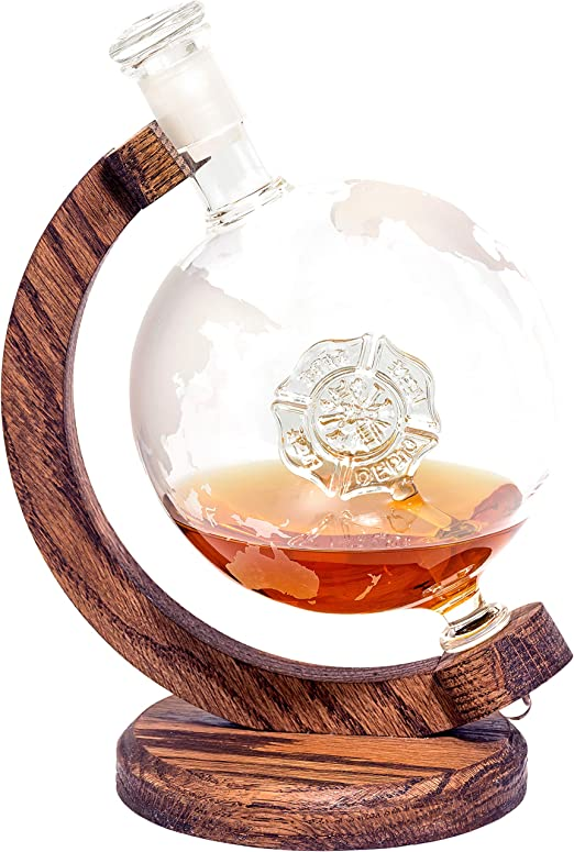 Globe Decanter with Firefighter Decor