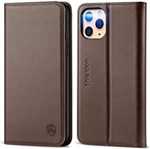 """SHIELDON iPhone 11 Pro Case, Genuine Leather Auto Sleep Wake iPhone 11 Pro Wallet Case RFID Blocking Card Slot Magnetic Kickstand Shockproof Case Compatible with iPhone 11 Pro (5.8"""") - Coffee Brown"""