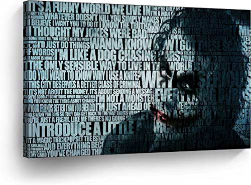 Heath Ledger Joker Quotes Mix Canvas Print Wall Art Digital Vector Painting Home Decor Poster Artwork Framed and Stretched