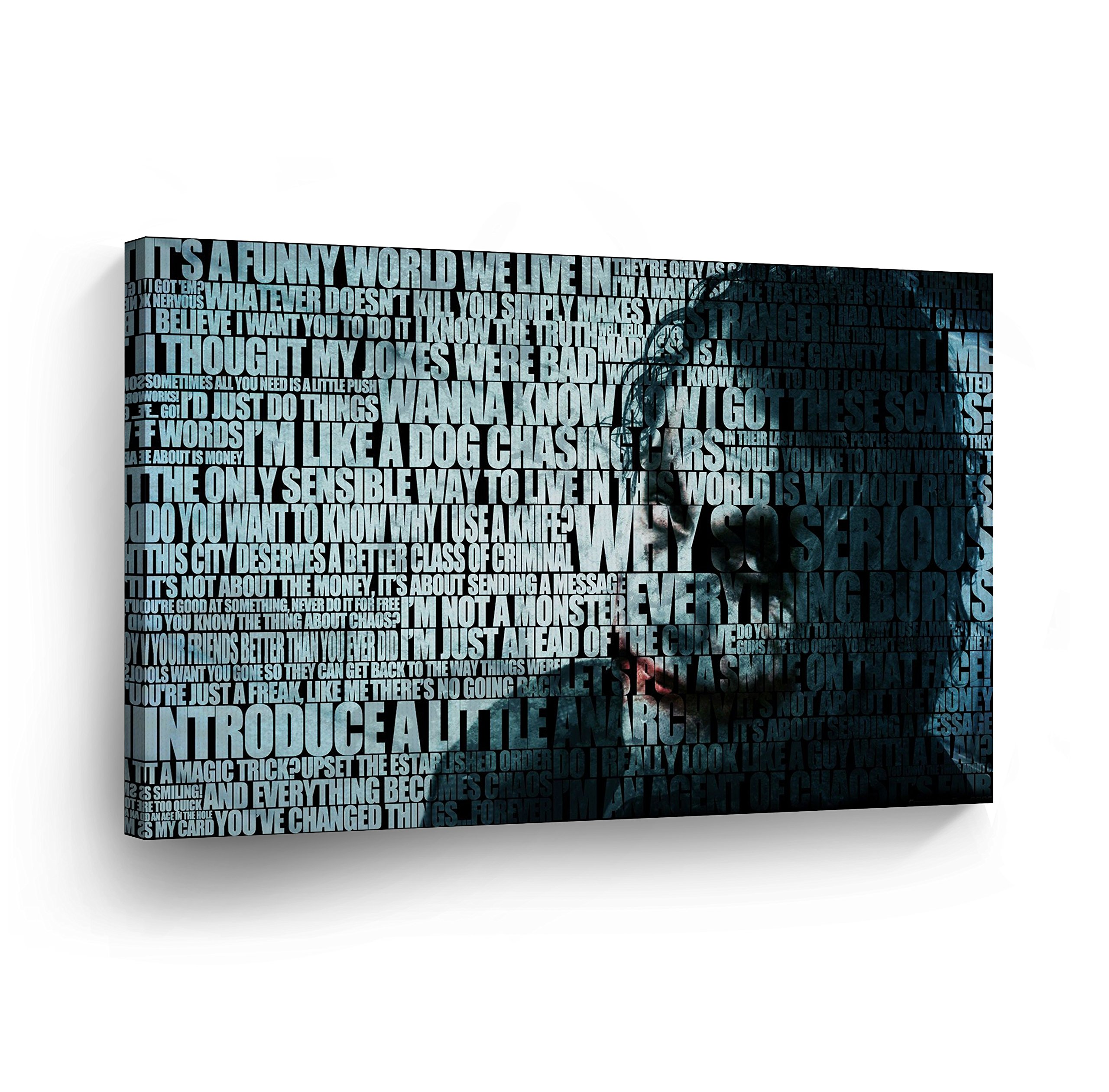Joker Quotes Heath Ledger Decorative Art CANVAS PRINT Modern Wall Decor Artwork Wrapped Wood Stretcher Bars Vertical- Ready to Hang - %100 Handmade in the USA-JKH28 by Smile Art Design