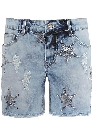 Sublevel Damen Shorts mit Perlen und Sternen | Kurze Hose
