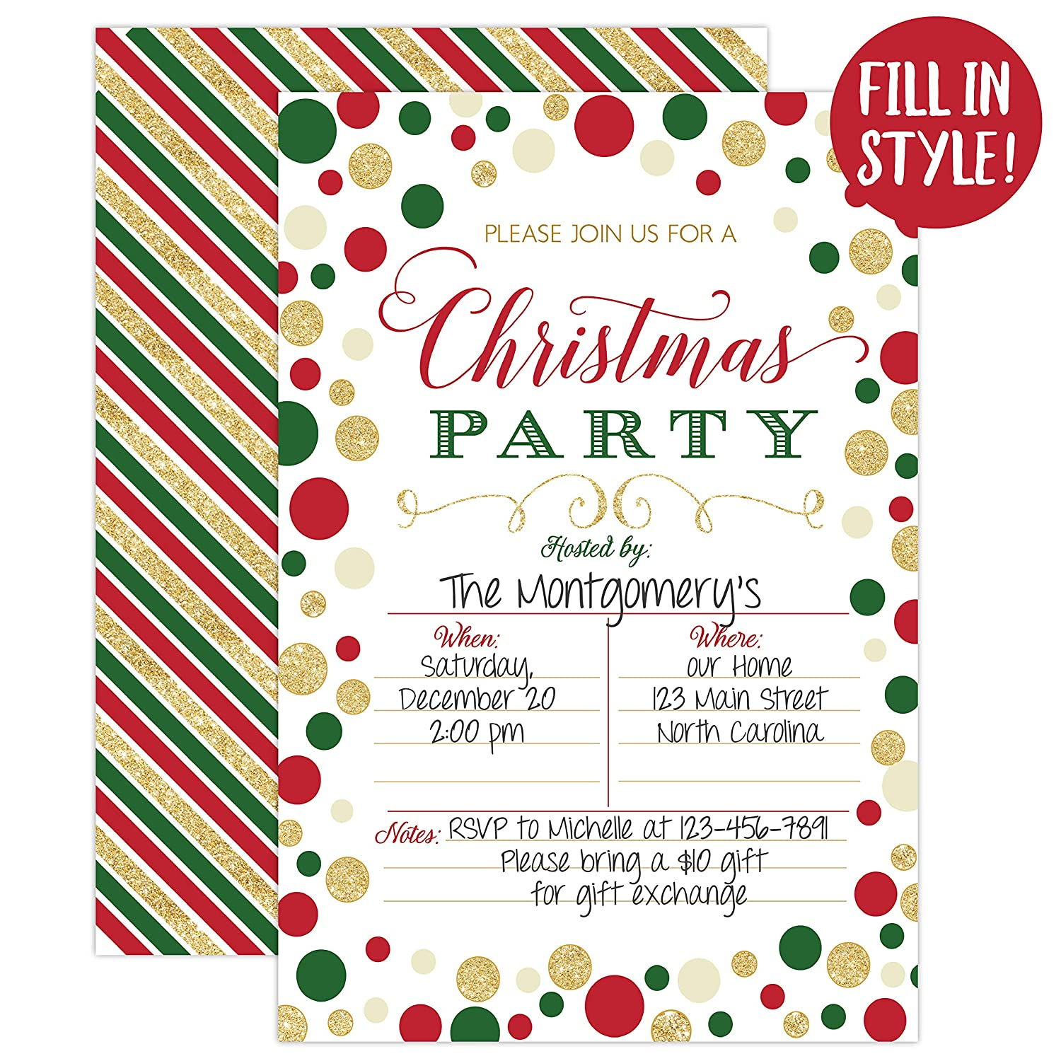 Christmas Party Invitation.Christmas Party Invitation Christmas Party Invite Christmas Party Holiday Party Invitations 20 Fill In Invitations And Envelopes