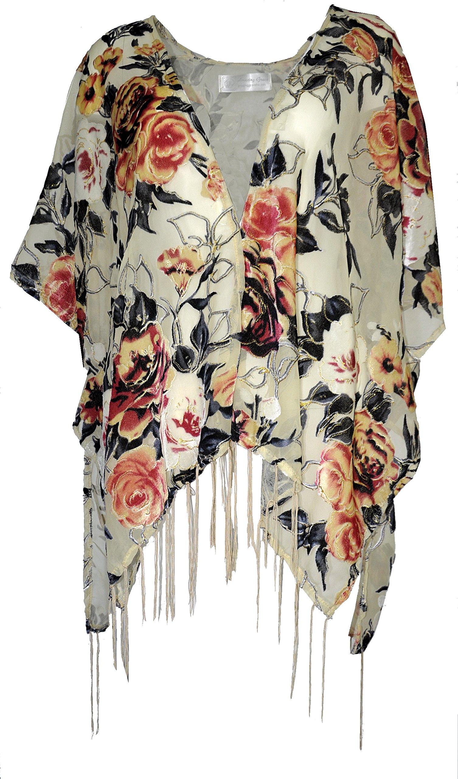 Amazing Grace Elephant CO Women's Vintiage Burnout Velvet Kimono Cardigan Floral Series (Beige Lady Peony)