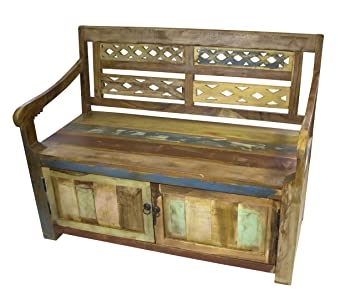 Sitz-Bank 117cm aus recyceltem Holz mit Stauraum: Amazon.de ...