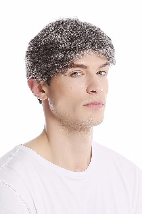 WIG ME UP ® - GFW1168-44 Peluca corta hombres moderna juvenil color gris oscuro