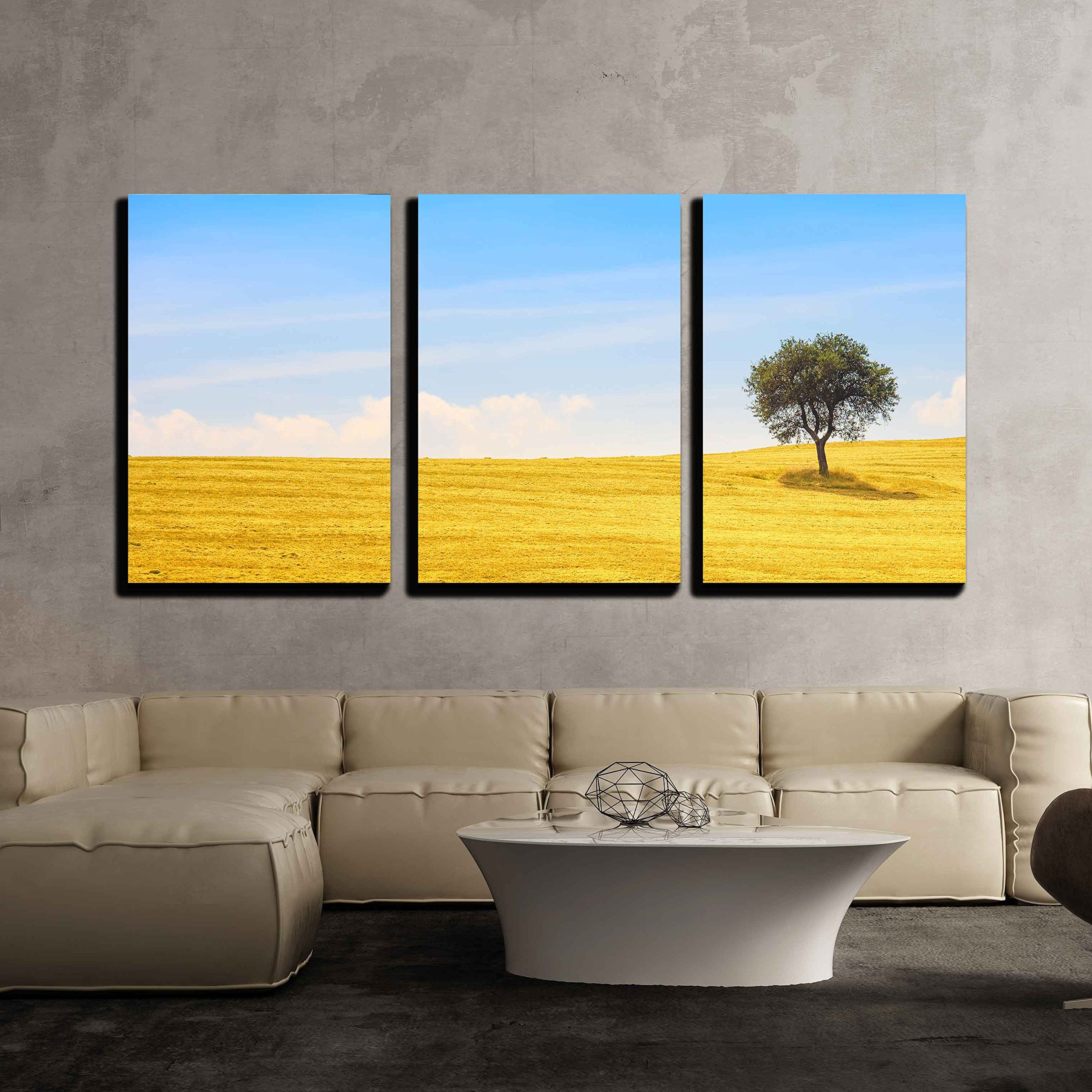 wall26 - 3 Piece Canvas Wall Art - Tuscany Country Landscape, Olive Tree and Green Fields Montalcino, Italy, Europe - Modern Home Decor Stretched and Framed Ready to Hang - 16''x24''x3 Panels