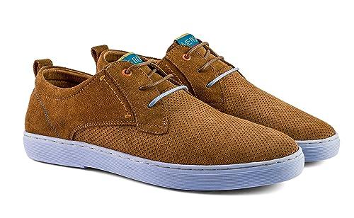 5ece2f829de Meröhe - Zapatillas para Hombre de Piel Color Marrón Cuero - Tallas 40 a  45  Amazon.es  Zapatos y complementos