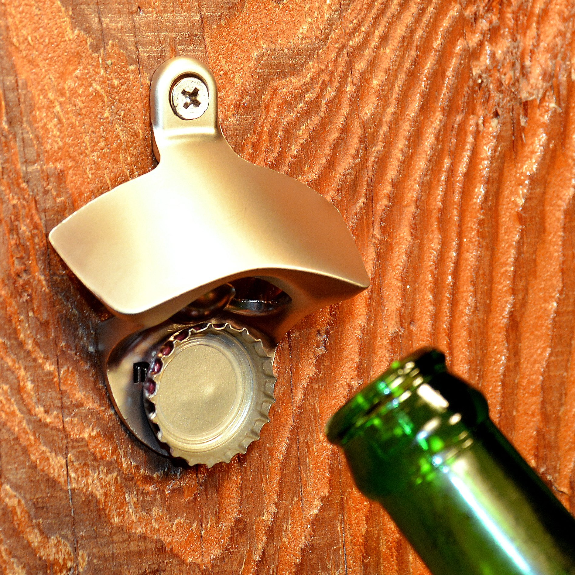 Wall Mounted Bottle Opener That Catches Bottle Caps MAGCAP