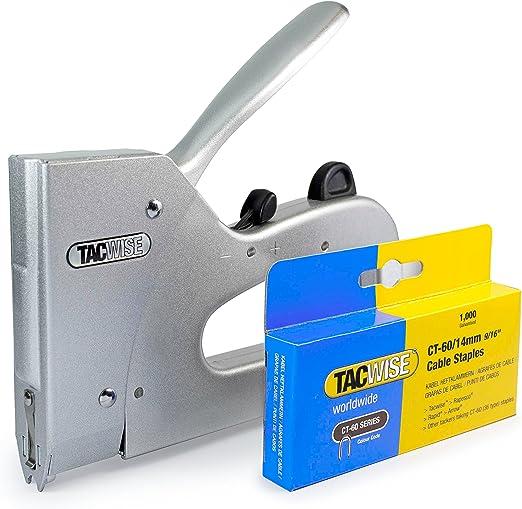 Tacwise 1247 - Grapadora de cables combi y caja de grapas para cables CT60/14 mm de 1000 unidades