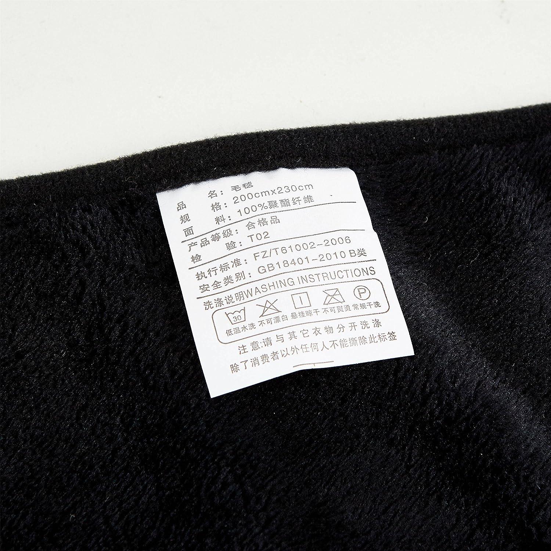 Couvre-lit Moelleux 4 Tailles 100 x 120cm Noir Microfibre Styho Couverture en Microfibre Super Douce au Toucher Douillet pour canap/é-lit