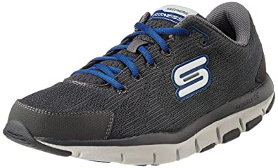 Skechers Men's Liv - Dual Damage Charcoal and Navy Sneakers - 9 UK/India (