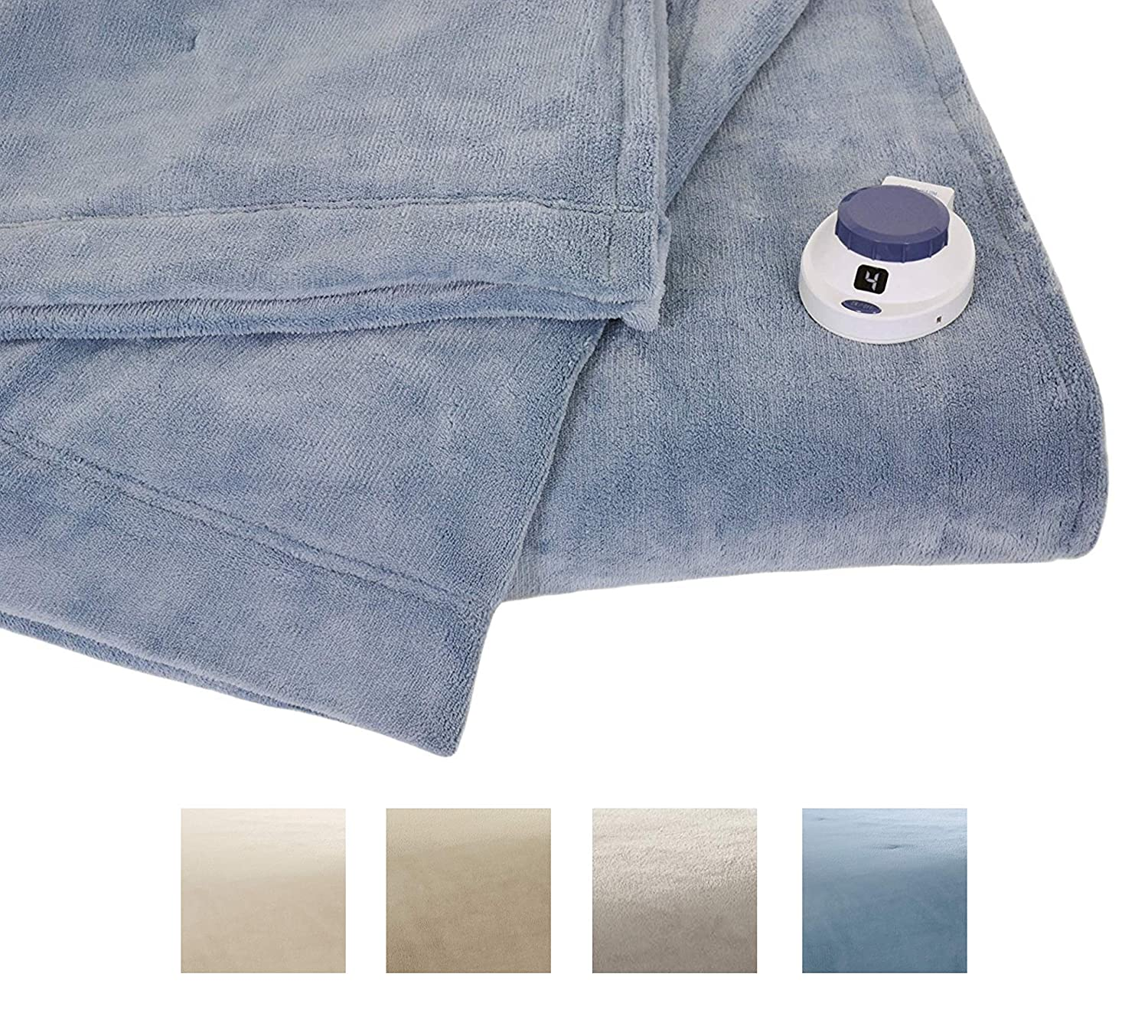 Serta | Luxe Plush Fleece Heated Electric Blanket with Safe & Warm Low-Voltage Technology Full Sapphire