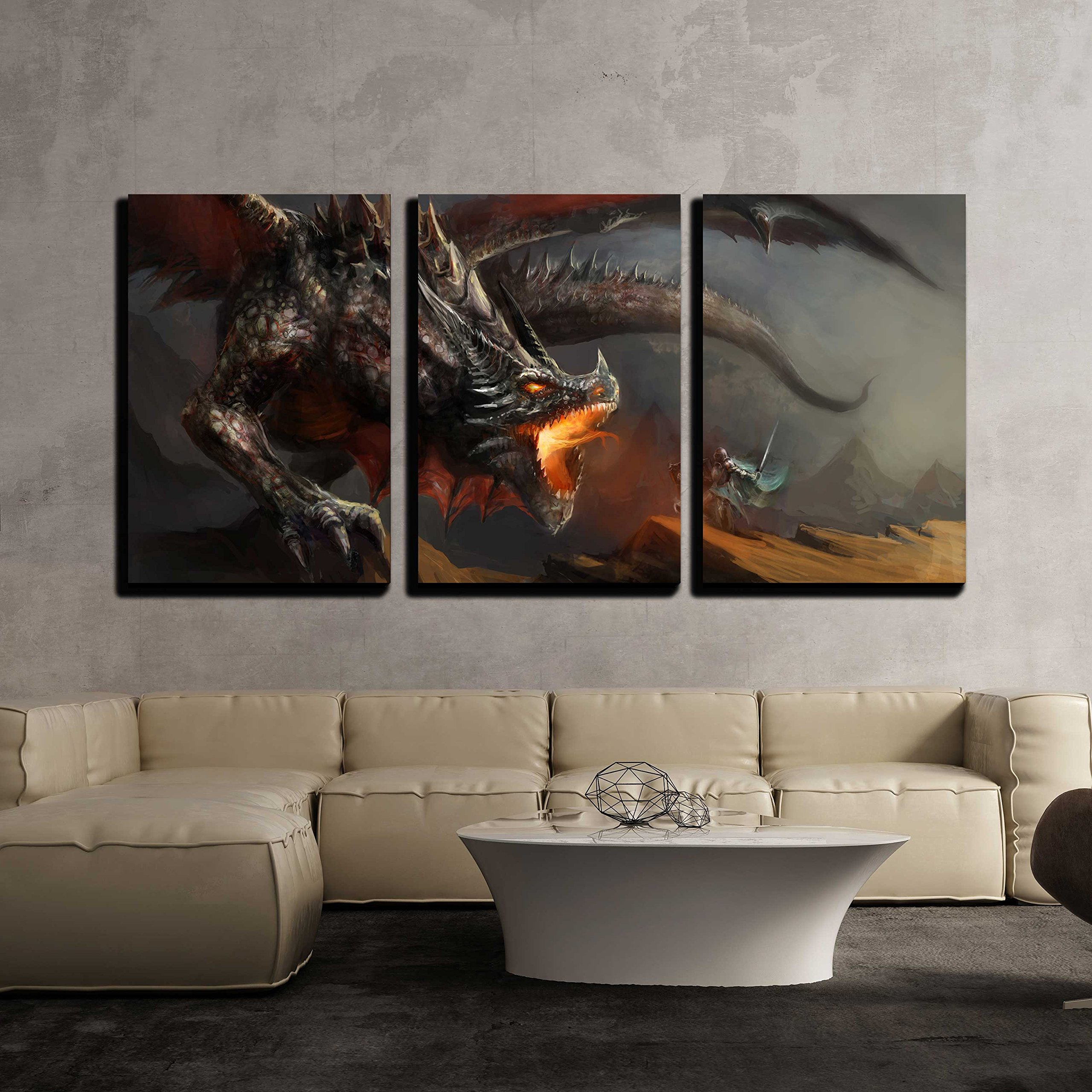 wall26 - 3 Piece Canvas Wall Art - Fantasy Scene Knight Fighting Dragon - Modern Home Decor Stretched and Framed Ready to Hang - 16''x24''x3 Panels by wall26
