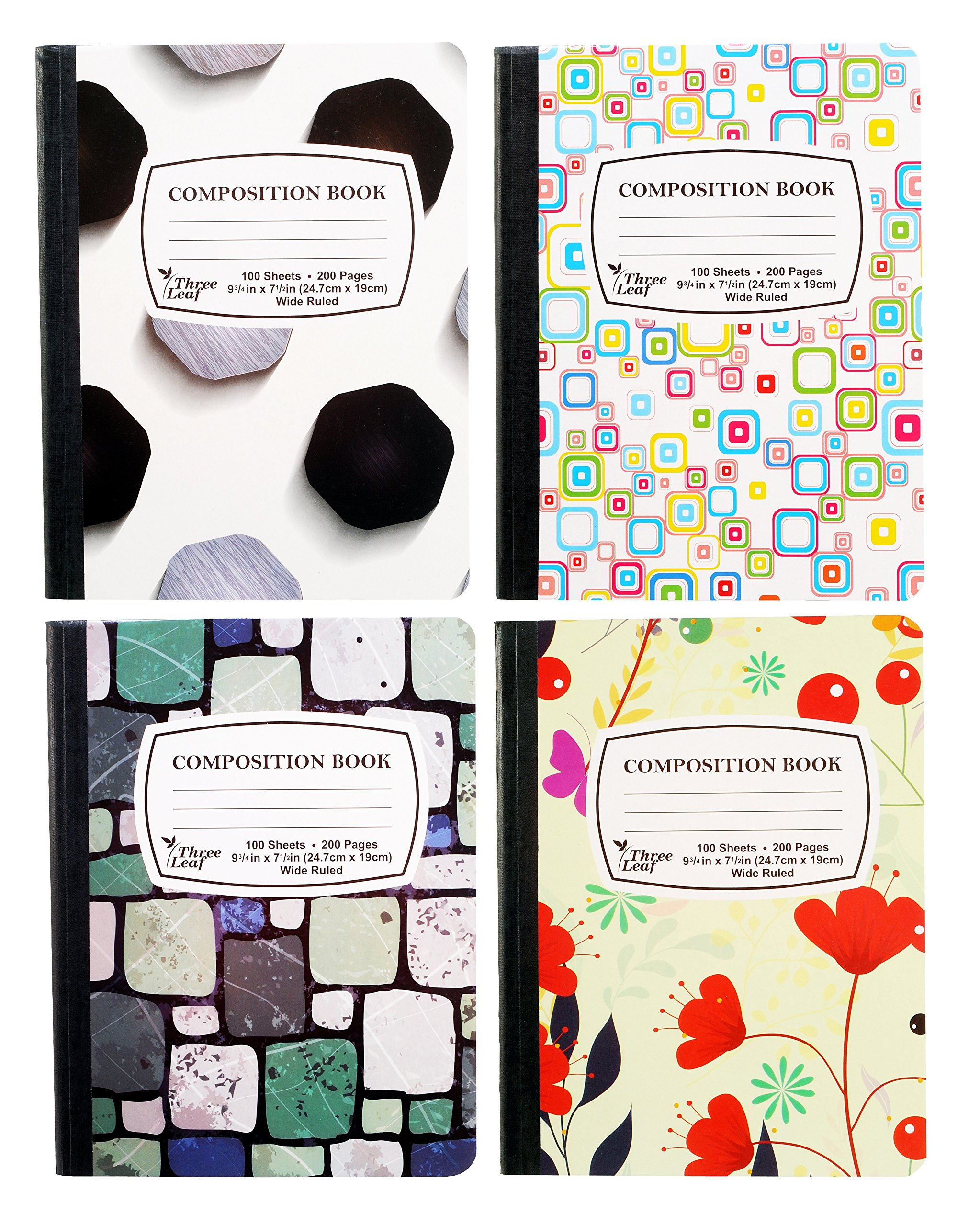 4-Pack Composition Notebook, 9-3/4'' x 7-1/2'', Wide Ruled, 100 Sheet (200 Pages), Weekly Class Schedule and Multiplication/Conversion Tables on Covers - Styles: Tiles, Flowers, Shapes, Spots (4-Pack)