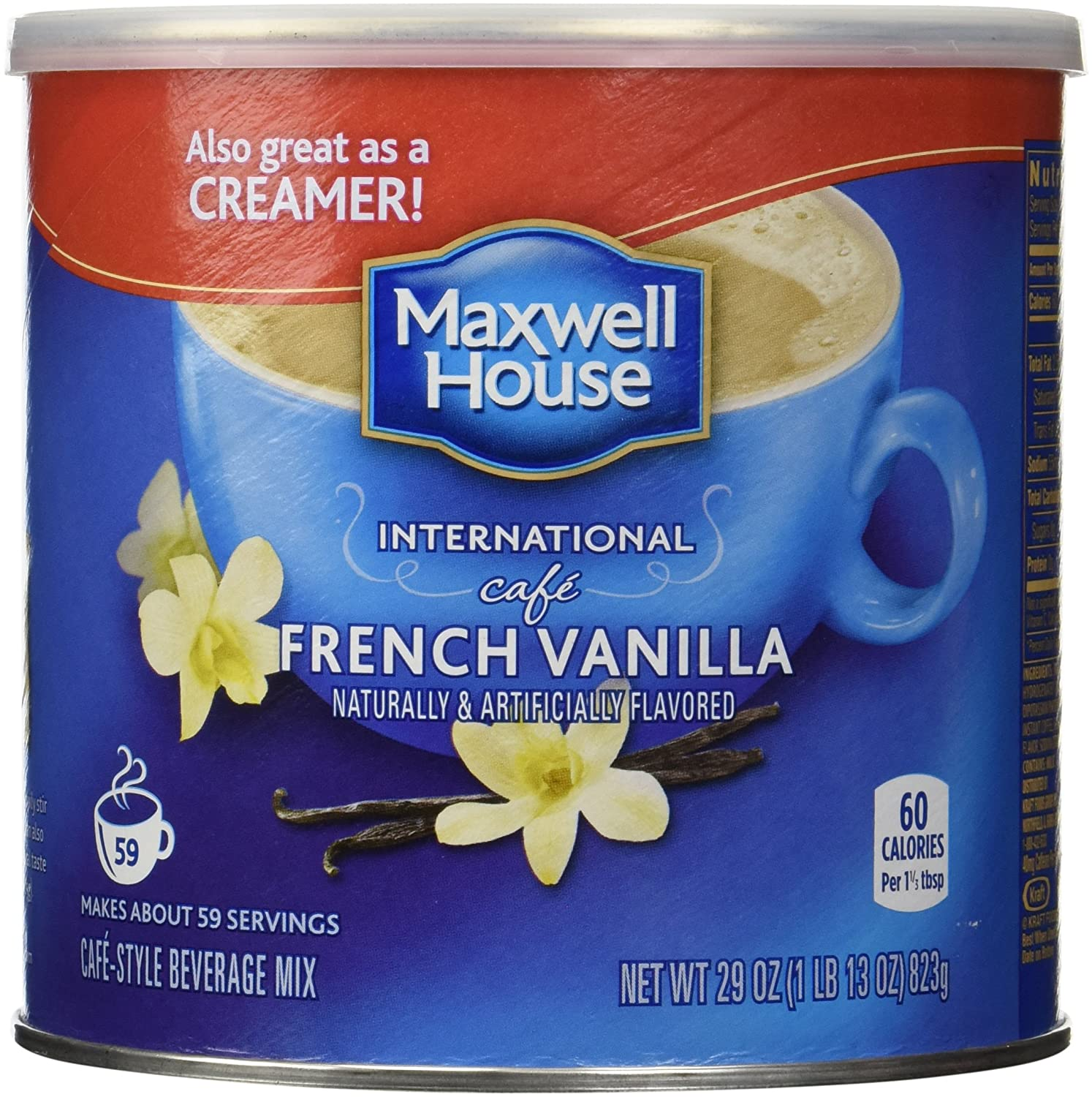 Maxwell House International Coffee French Vanilla Cafe, 29 Ounce Cans KRAFT HEINZ FOODS COMPANY 00043000056097