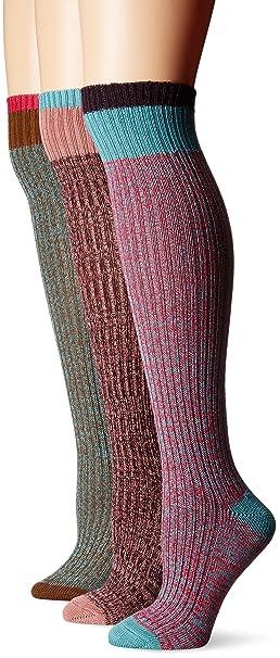 b8f86a96276 Muk Luks Women s 3 Pair Pack Color Block Knee High Socks