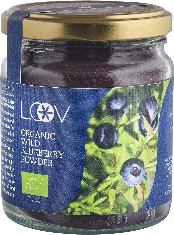 Arándano Azul Silvestre Orgánico en Polvo (Wild Blueberries), 100 g, Obtenido Únicamente a Partir de Cáscaras y Semillas de Bayas, Sin Aditivos, Elaborado Artesanalmente en Los Bosques Nórdicos