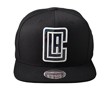 7cea05afa2a Mitchell and Ness NBA Los Angeles Clippers Dark Hologram Snapback Hat -  Black
