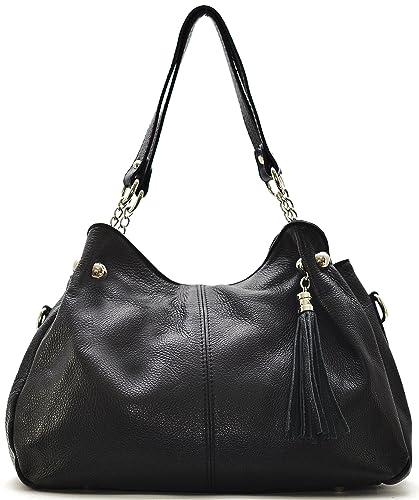 23c8a3c251 Cuir-Destock sac à main porté main et bandoulière cuir grainé modèle louise  noir -