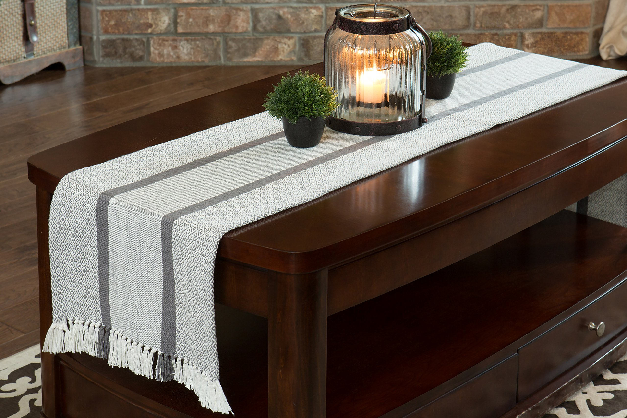 Sticky Toffee Cotton Woven Table Runner with Fringe, Traditional Diamond, Gray, 14 in x 72 in by Sticky Toffee (Image #4)