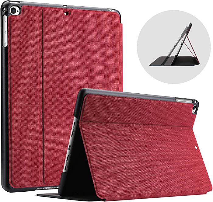 ProCase iPad 9.7 (2018 & 2017) / iPad Air 2 / iPad Air Case, Slim Stand Protective Folio Case Smart Cover for Apple iPad 9.7 Inch 5th/6th Generation, Also Fit iPad Air 2 / iPad Air -Red