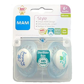 MAM Style - I Love Mummy & I Love Daddy Soother Twin Pack - 6m+ (Blue)