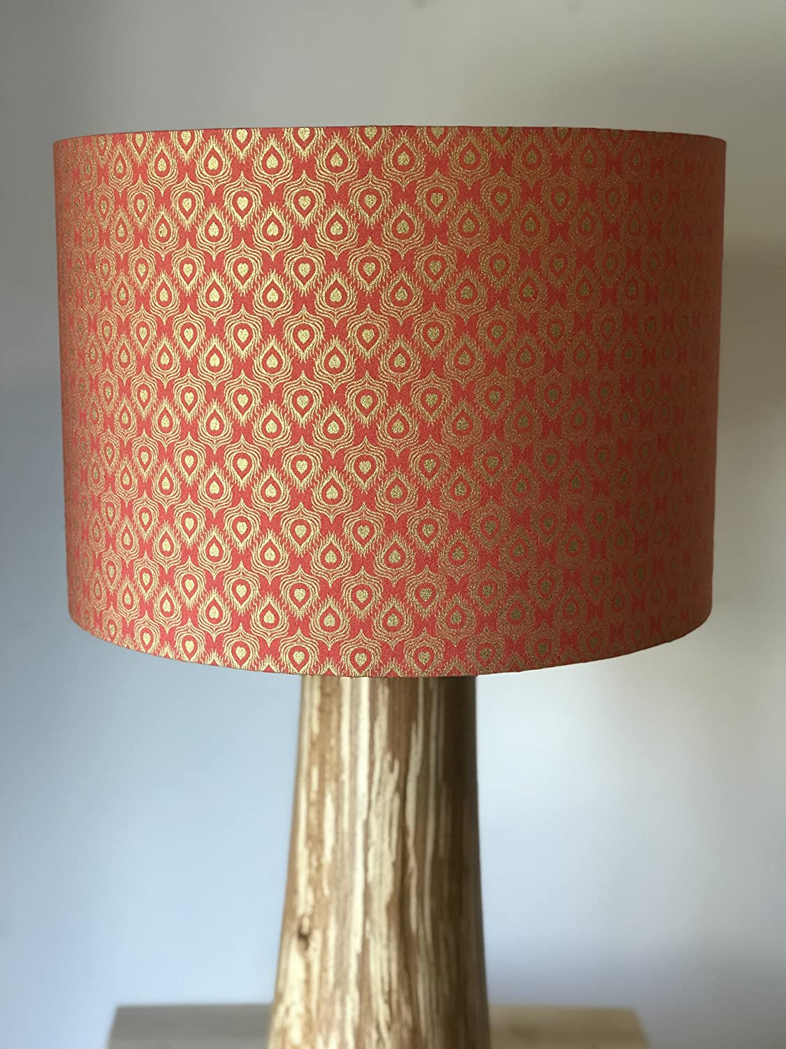 Terracotta and Gold Peacock Feather Style Drum lampshade