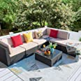 Homall 7 Pieces Patio Outdoor Furniture Sofa Set, All Weather PE Rattan Wicker Sectional Sets Modern Modular Couch Outside Co