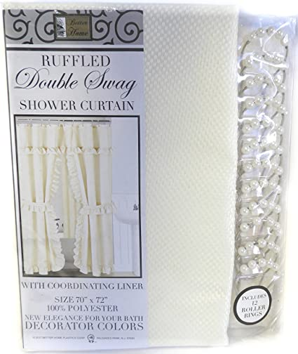 DINY Home Style Ruffled Double Swag Shower Curtain Set With Coordinating Liner And Rings