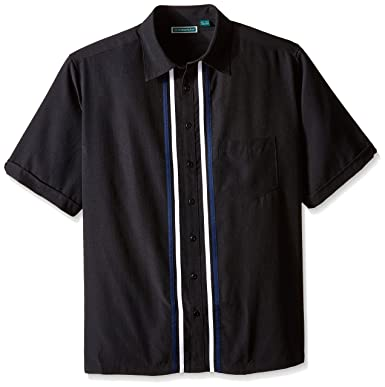 b85a2c7cfb Cubavera Men s Big and Tall Short Sleeve Tri Color Panel with Pickstich  Woven Shirt