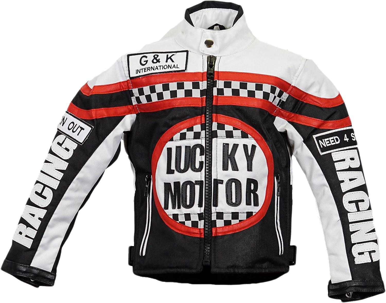 Racing Jacke Motorradjacke MDM Kinder Bikerjacke in schwarz//wei/ß